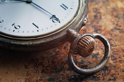 Close-up view of a silver pocket watch. Royalty Free Stock Photo