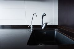 Close up view of sink and faucets. In kitchen stock images