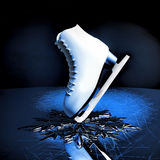 Close up view of The skat for figure skating and a snowflake on Royalty Free Stock Images