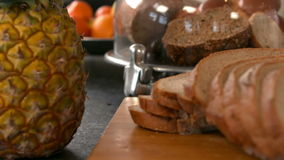 Close up view of slice of bread stock video footage