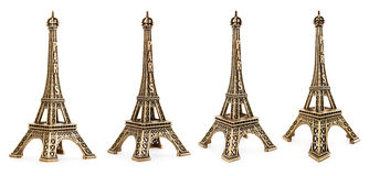 Close up view of a small Eiffel tower statue photographed with different perspectives Stock Photos