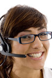 Close up view of smiling service provider Royalty Free Stock Photo