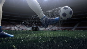 Close up view of soccer ball and player leg. shooting to the goal in slow motion stock footage