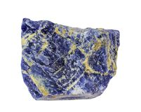 The close up view of Sodalite mineral isolated on white background stock images