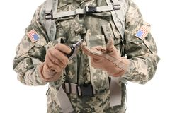 Close up view of soldier with fragmentation grenade Stock Photography