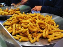 Spanish churros (sweet fritters) Royalty Free Stock Image