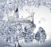 Close up view of some ice pieces in water Stock Photo