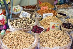 Toasted Nuts in a street stall Stock Photography