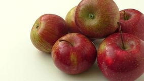 Close up view of some red apples isolated on a white background stock footage