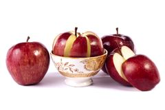 Red apples. Close up view of some red apples isolated on a white background Stock Photos