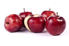 Red apples. Close up view of some red apples isolated on a white background Stock Image