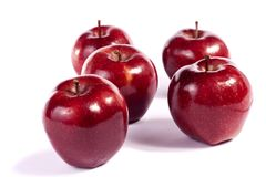 Red apples. Close up view of some red apples isolated on a white background Royalty Free Stock Image