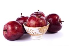 Red apples. Close up view of some red apples  on a white background Royalty Free Stock Image