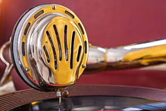 Close up view on speaker of gramophone stock image
