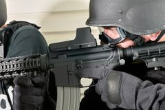 Close up view of special force soldier with rifle stock photography