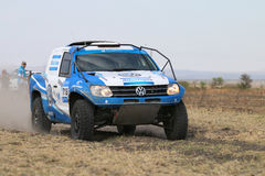 Close-up view of Speeding blue and white VW Amarok twin cab rall Stock Images
