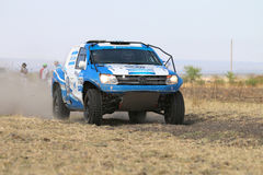 Close-up view of Speeding blue and white VW Amarok twin cab rall Stock Photos