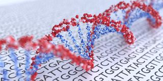 Close up view on spiral DNA molecules. 3D rendered illustration.  royalty free illustration
