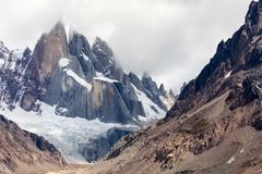 A close up view of the 3 spires of Cerro Torre Stock Image