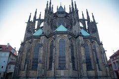 Close-up view of St. Vitus Cathedral against the blue sky. Prague, Czech Republic stock photo