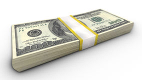 A close-up view of the stack of one hundred dollar bills Royalty Free Stock Images