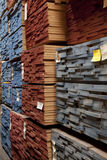 Close-up view of stack of wooden plywood Stock Photos