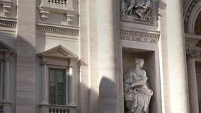 Close up view of a statue at the famous trevi fountain, rome stock video