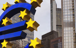 Close up view of statue made with Euro and stars Stock Photo