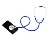 Close up view of stethoscope over isolated white background royalty free stock photos