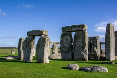 Close up view of Stonehenge monument. Daylight with blue sky. United Kingdom royalty free stock images