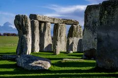Close up view of Stonehenge monument. Daylight with blue sky. United Kingdom royalty free stock photography