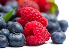 Close up view of strawberry, bilberry and raspberry Stock Images