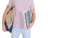 Close up view of student with notebook and bag. Education concept. Isolated white background Stock Images