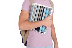 Close up view of student with notebook and bag. Isolated on white background Stock Images