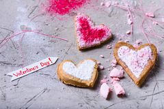Close-up view of sweet gourmet heart shaped valentines cookies Stock Images
