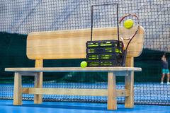 Close up view of tennis court through the net Royalty Free Stock Photos