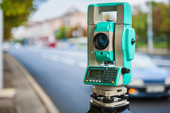 Close up view on theodolite urban street Royalty Free Stock Photo