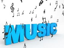 Close up view three dimensional music text Stock Image