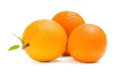 Close up view of three oranges Stock Photos