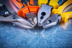 Close up view of tin snips gripping tongs nippers Stock Images