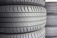 Close up view of tires in a car shop Royalty Free Stock Images