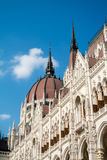 Close-up view to a dome of Hungarian Parliament building and its details, Budapest Stock Photo