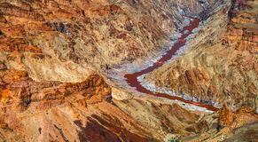 Close-up view to oldest world Fish river Canyon south Namibia royalty free stock photo