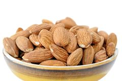 Peeled almonds kernels. Close-up view to peeled almonds kernels Stock Photos