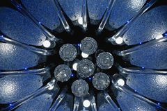 Close up view to soviet luster in black background. Detailed glass sparkles blue lustre. Close up view to soviet luster in black background. Detailed glass royalty free stock photos