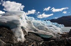 Close up view of the toe of Perito Moreno Glacier, Argentina. Close up view of the toe of Perito Moreno Glacier with moraine, Argentina Stock Photo
