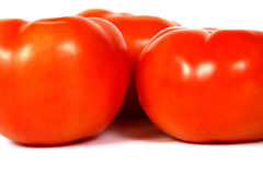 Close up view of Tomatoes. A close up of 3 tomatoes, showing off their brilliant orange colour royalty free stock image