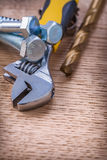 Close up view on tools screws bolt wrench drill On Royalty Free Stock Photography