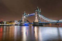 Close up view of the Tower Bridge in London. A nightly closeup of the famous Tower Bridge over the Thames river in London Royalty Free Stock Image