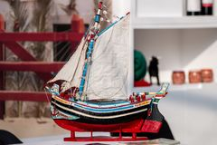 Traditional fishing boat model. Close up view of a traditional fishing boat miniature model Stock Photo